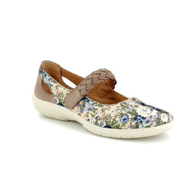 Hotter Mary Jane Shoes - Floral nubuck - 8111/57 SHAKE E FIT