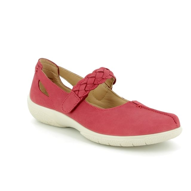 Hotter Mary Jane Shoes - Red nubuck - 8111/80 SHAKE E FIT