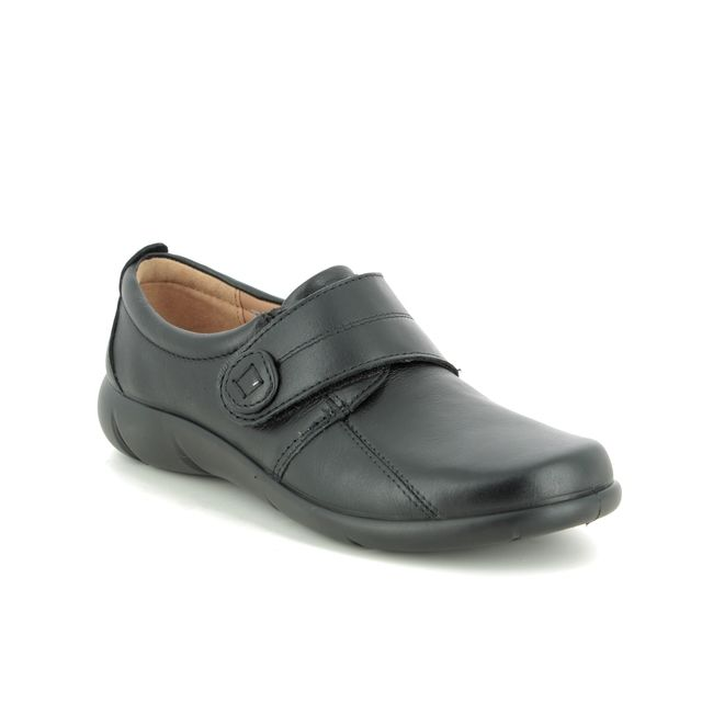 Hotter Comfort Slip On Shoes - Black leather - 9510/30 SUGAR 95 E FIT