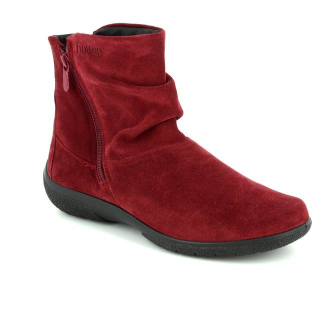 Hotter Ankle Boots - Red suede - 7205/80 WHISPER