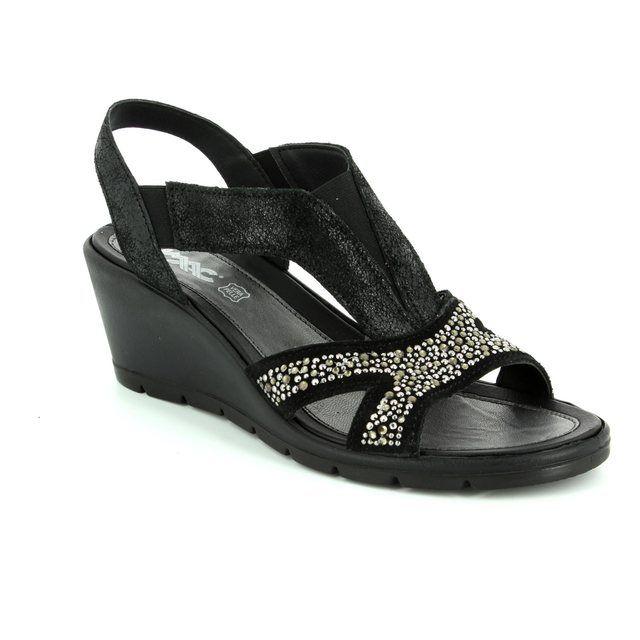 IMAC Wedge Sandals - Black patent suede - 72490/7210001 BETA