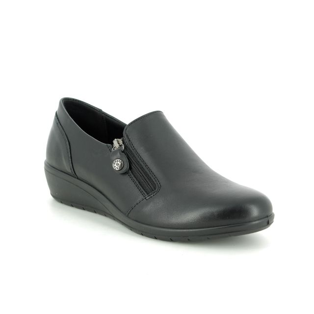 IMAC Comfort Slip On Shoes - Black leather - 6960/1400011 PERSIA
