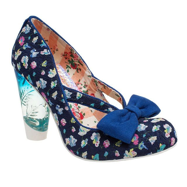 Irregular Choice Hello Ha 380140-70H Navy multi floral or fabric high-heeled shoes