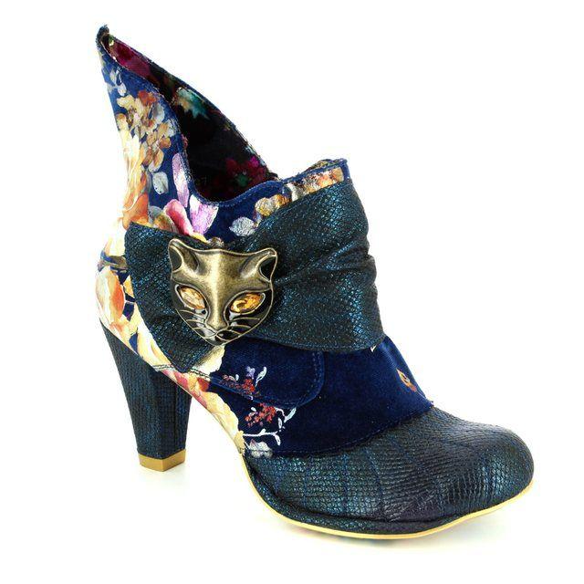 Irregular Choice Miaow 3432-02AK Blue multi ankle boots
