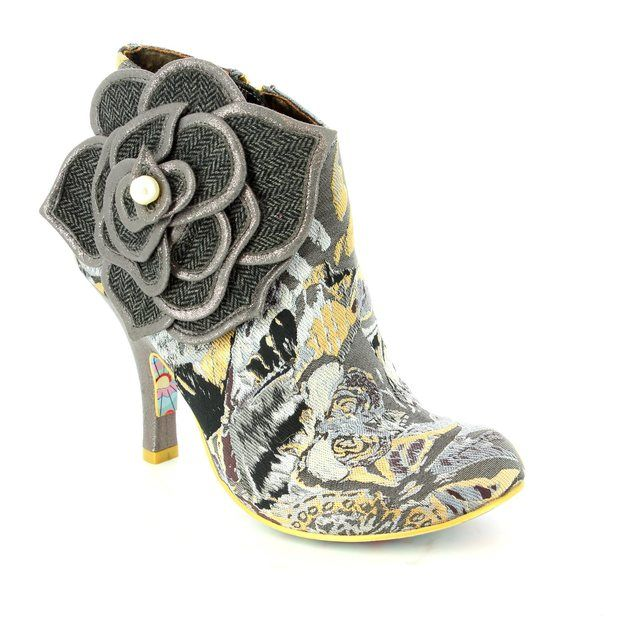 Irregular Choice Pearl Necture 3615-09A Black grey multi ankle boots