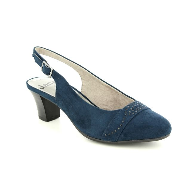 Jana Abusling 29660-22-805 Navy suede heeled shoes