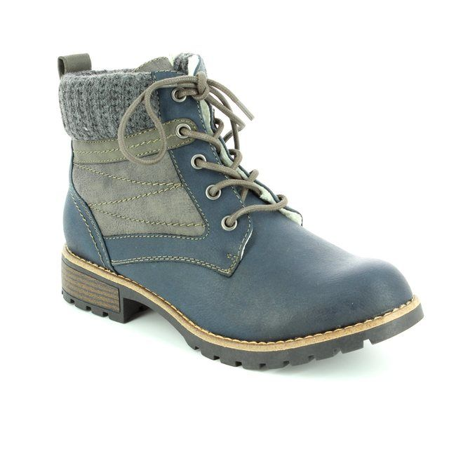Jana Bulbo 26265-805 Navy multi ankle boots