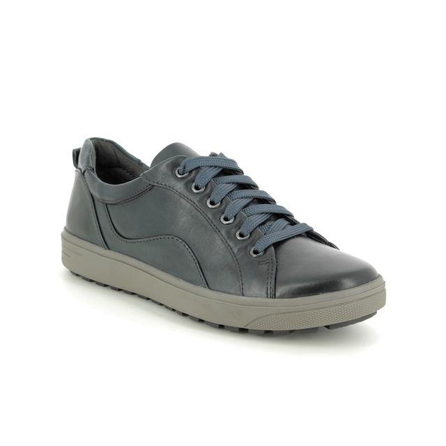 Jana Comfort Slip On Shoes - Navy Leather - 23601/23805 SITANE