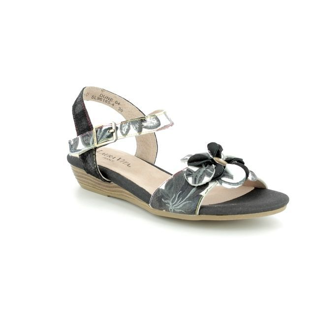 Laura Vita Wedge Sandals - Black multi - 1015/30 DUNE   04