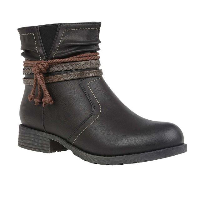 Lotus Francina Black Ankle Boots