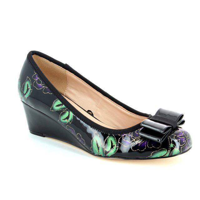 Lotus Asela Black multi patent heeled shoes