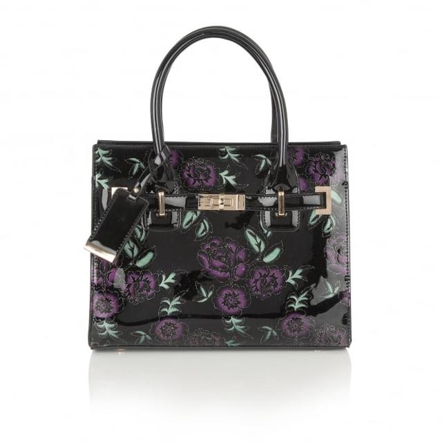 Lotus Elanor Black multi patent matching handbag