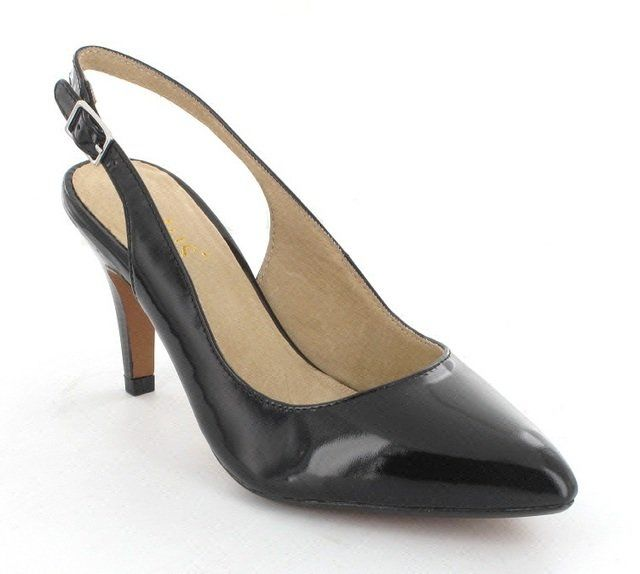 Lotus Gloss Black patent high-heeled shoes