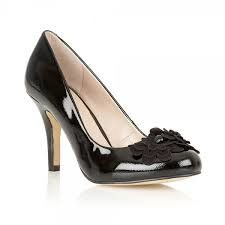 Lotus Holly Black patent/suede high-heeled shoes