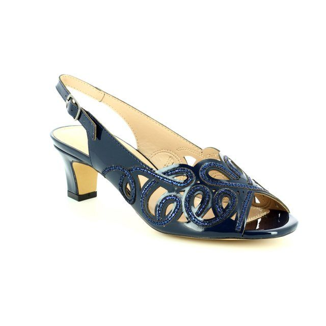 Lotus Heeled Sandals - Navy - 50902/70 MARIANNA