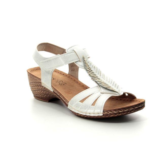 Lotus Melinda White Wedge Sandals