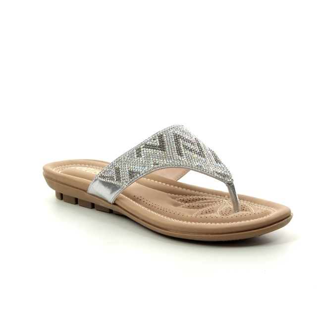 Lotus Toe Post Sandals - Silver - ULP009/01 PATTI