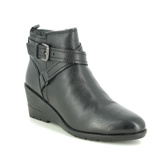 Lotus Wedge Boots - Black leather - ULB136/30 PETRA