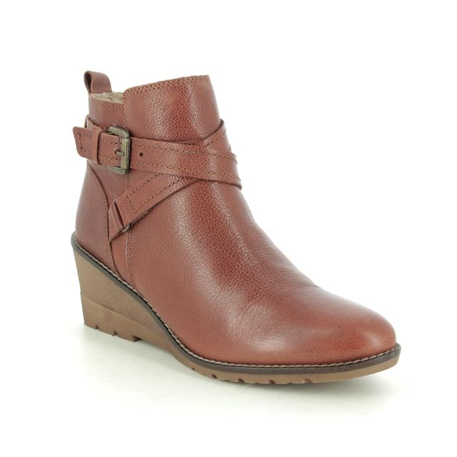 Lotus Wedge Boots - Tan Leather - ULB136/11 PETRA