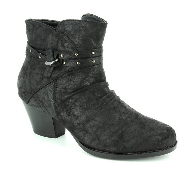 Lotus Philox Black fabric ankle boots