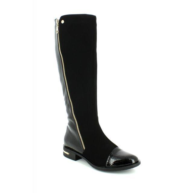 Lotus Knee-high Boots - Black suede or snake - 40410/30 PONTAL