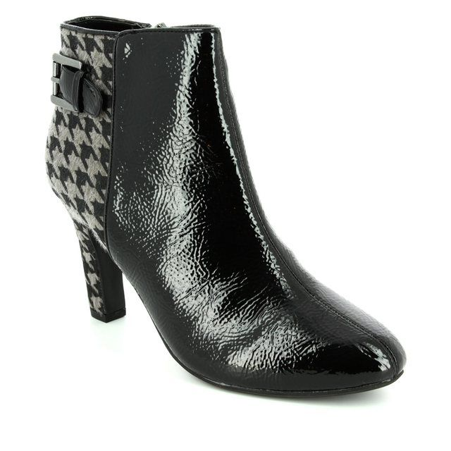 Lotus Ankle Boots - Black multi patent - 40384/30 SONI