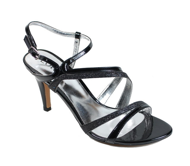 Lotus Tranquility Black patent heeled shoes
