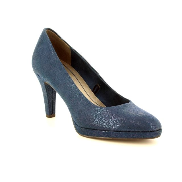 Marco Tozzi High-heeled Shoes - Navy patent-suede - 22404/30/824 BINO 81