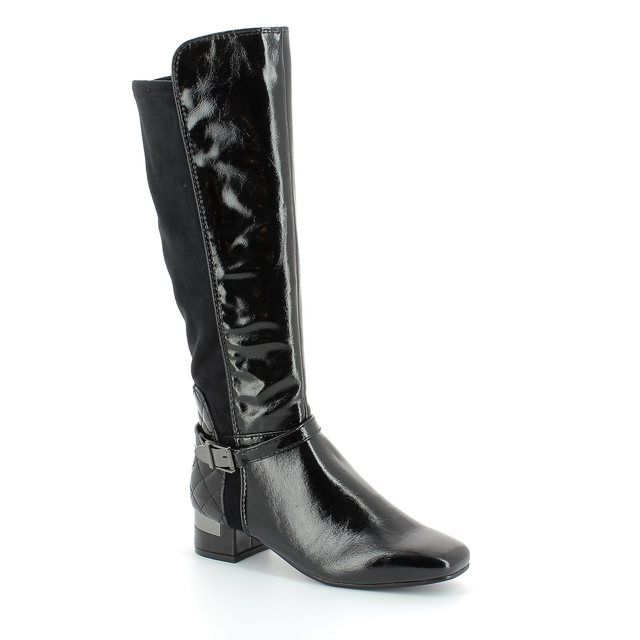 Marco Tozzi City 52 25540-098 Black patent knee-high boots
