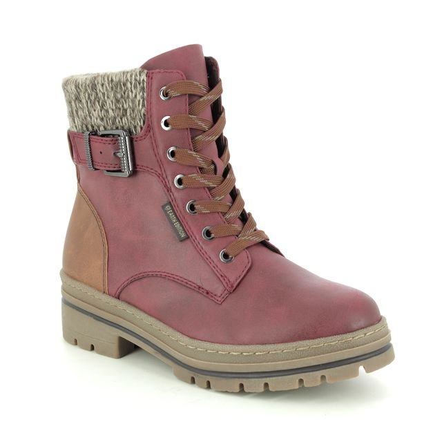 Marco Tozzi Lace Up Boots - Wine - 26777/25/596 GINOSA VEGAN