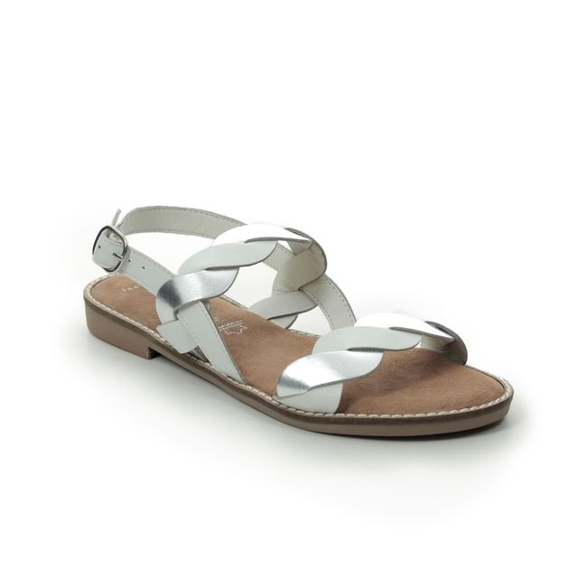Marco Tozzi Flat Sandals - White-silver - 28130/24/197 NEW DIAMOND