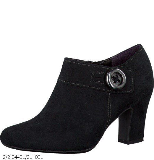 Marco Tozzi Synubut 24401-001 Black suede or snake ankle boots