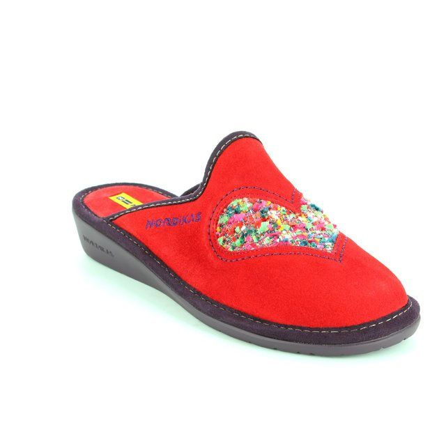 Nordikas Hearts 8130-88 Red suede slipper mules