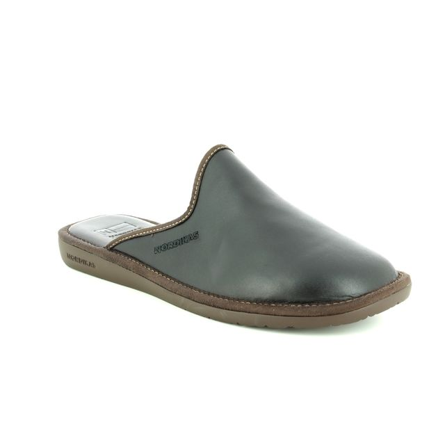 Nordikas Mule Slippers - Black leather - 131/ MENLEAMU