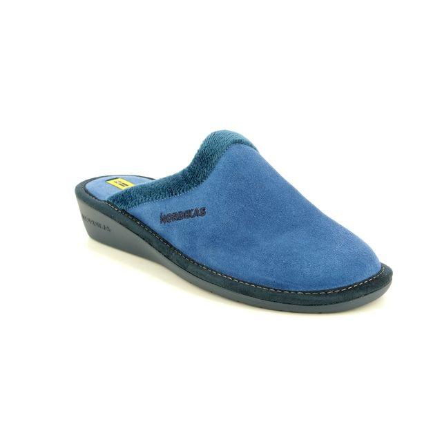 Nordikas Musue 234-8 Blue Suede slipper mules