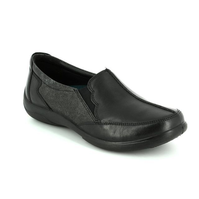 Padders Comfort Slip On Shoes - Black - 0874/38 FLUTE 2E-3E FIT
