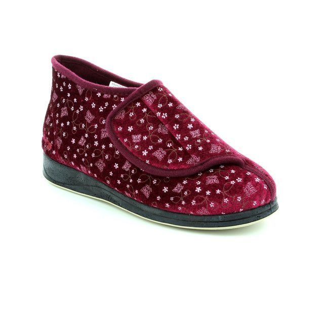 Padders Slippers - Wine - 0450/81 FRANCES 2E FIT