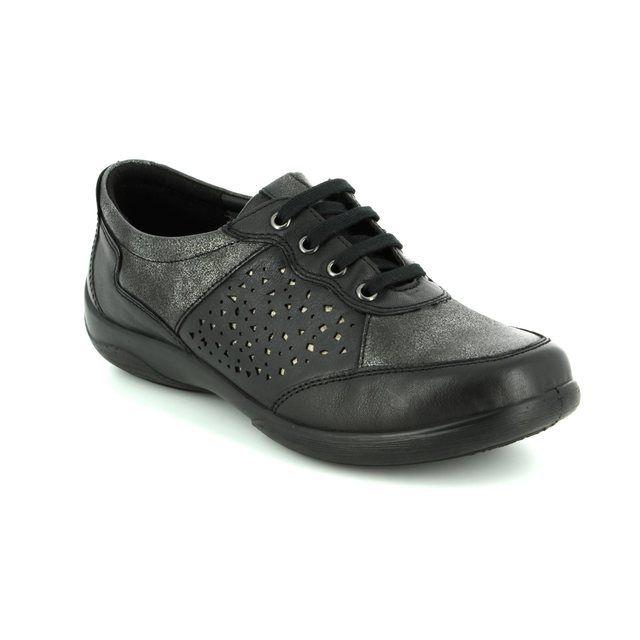 Padders Lacing Shoes - Black - 0872/38 HARP 2E-3E FIT