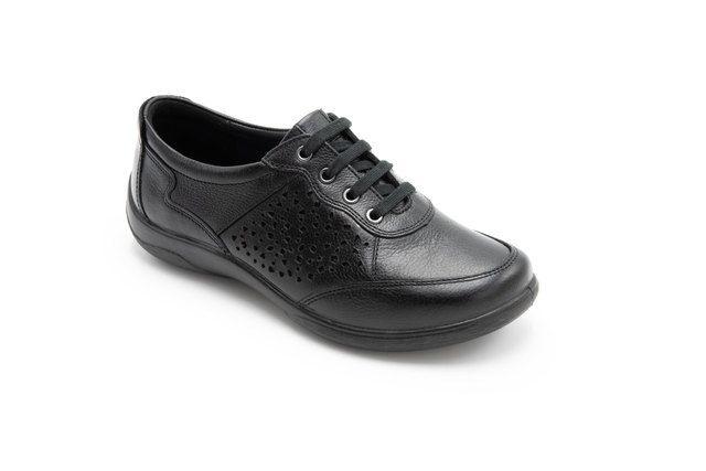 Padders Lacing Shoes - Black leather - 0872-10 HARP   PLAIN
