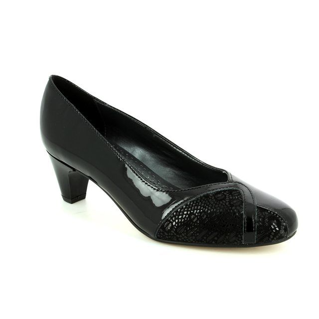 Padders Heeled Shoes - Black patent - 2005/60 JOANNA 2E FIT