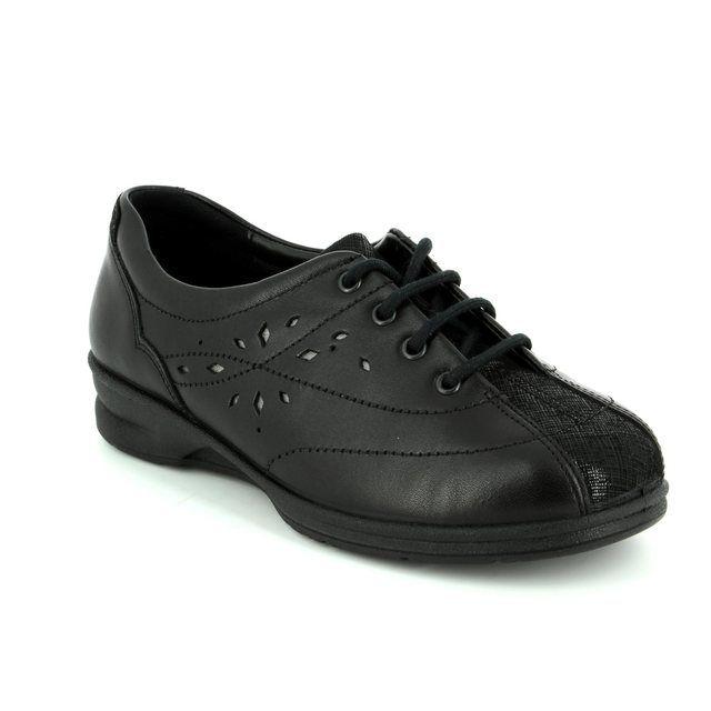 Padders Lacing Shoes - Black - 0358/38 KAREN 2 4E-6E FIT