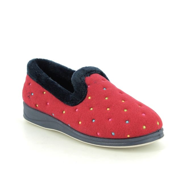 Padders Slippers - Red multi - 0406-5007 REPOSE EE FIT