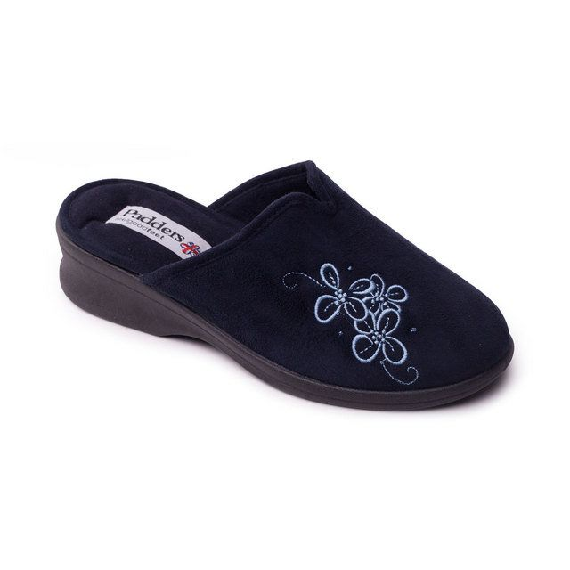 Padders Slipper Mules - Navy - 4003/24 SABLE 2E FIT