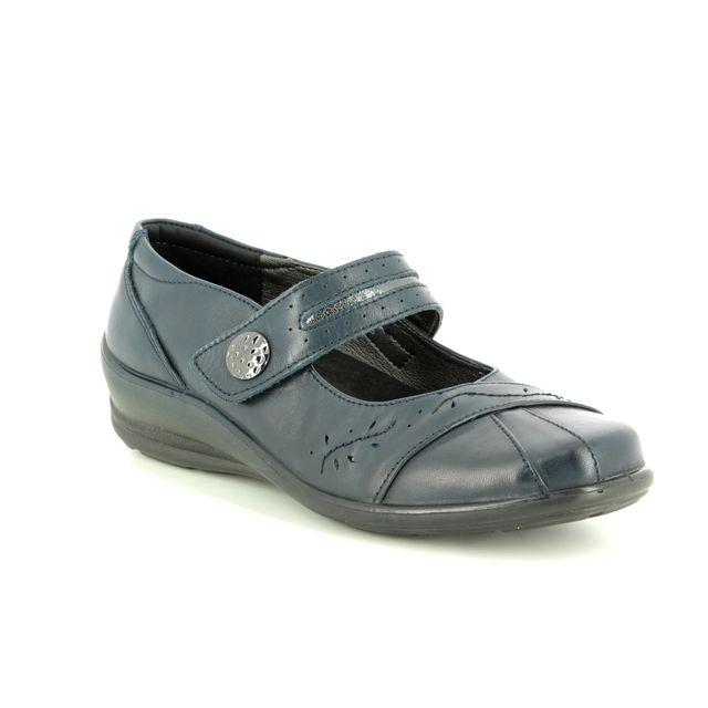 Padders Mary Jane Shoes - Navy Leather - 0257/96 SUNSHINE 2 E-E