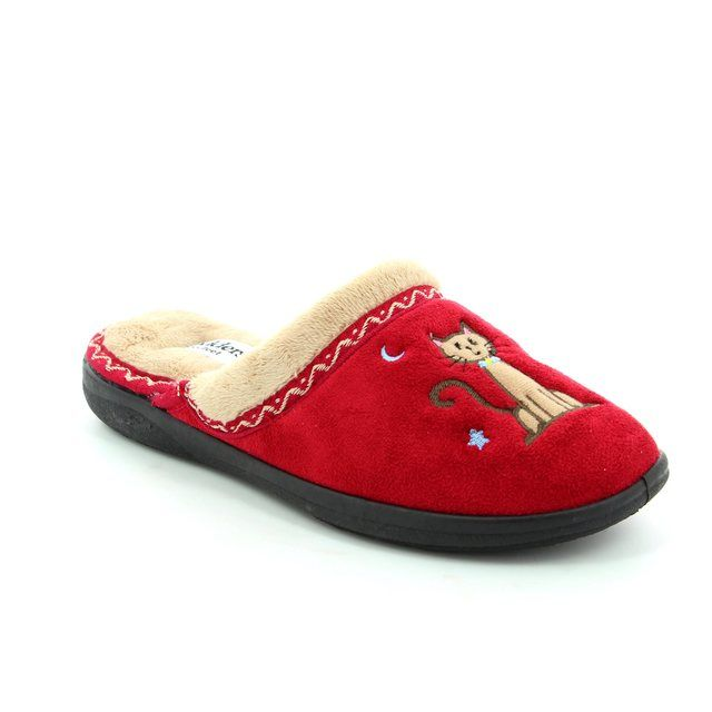 Padders Slipper Mules - Red - 0473/42 TABBY 2E FIT