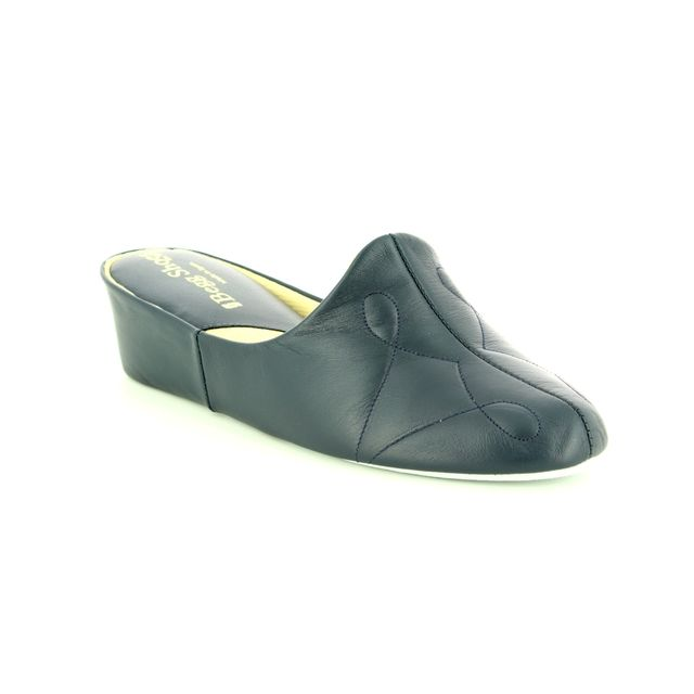 Relax Slippers Slippers - Navy Leather - 7312/70 PLAIN  7312-04