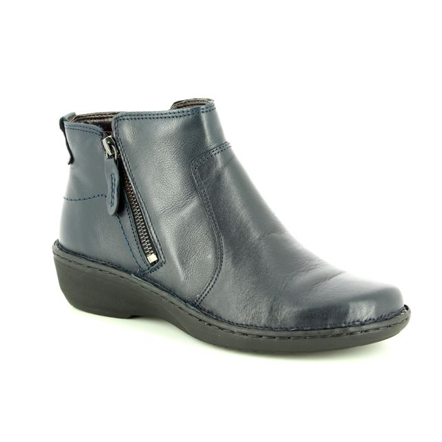 Relaxshoe Amyboot 85 291002-70 Navy Leather fashion ankle boots