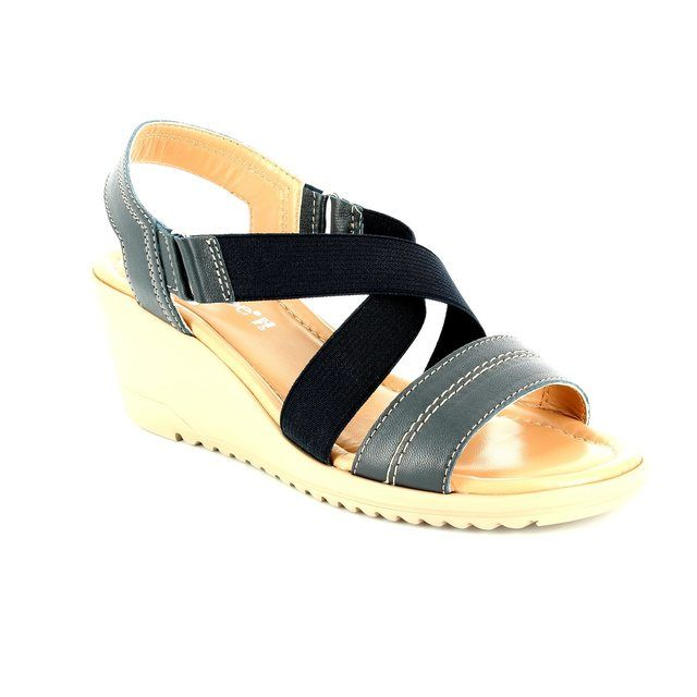Relaxshoe Bewedged 044030-70 Navy sandals