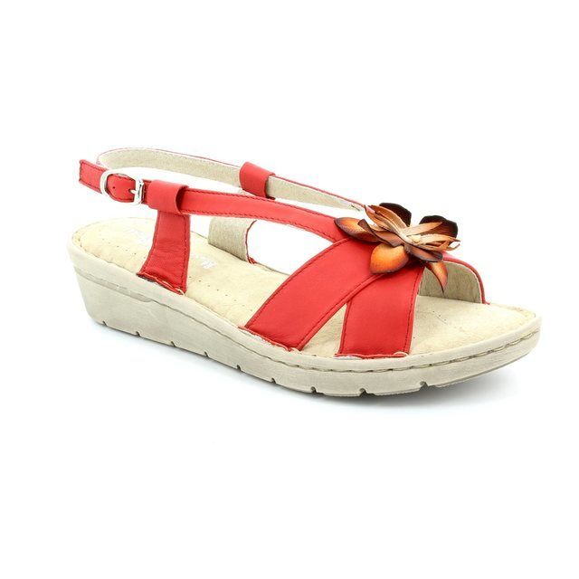 Relaxshoe Floral 132102-80 Red sandals