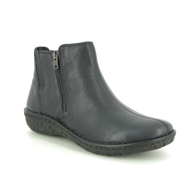Relaxshoe Ankle Boots - Navy Leather - 26792/70 INCAS  ZIP